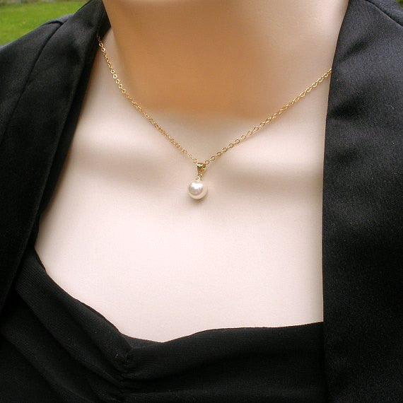 Mom, Mother in Law Pearl Necklace Gift, single pearl gold
