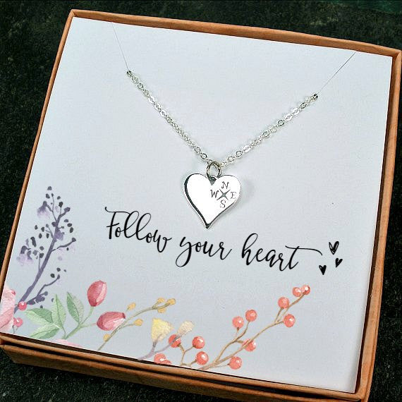 graduation new job gifts girls Heart compass necklace