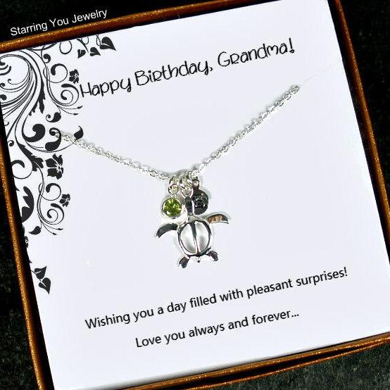 Personalized Grandma Gifts Turtle Necklace with Birthstone Silver