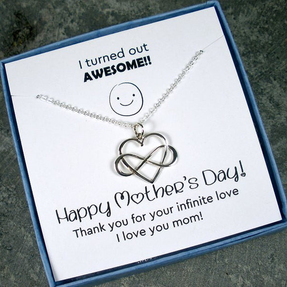 Mother's day gift silver infinity necklace card message