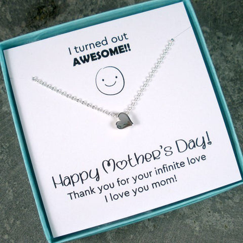 Mother's Day Gift Idea Memorable Message Card Jewelry, Sterling Silver