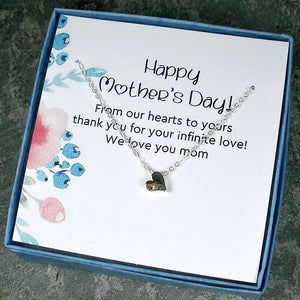 mother's day gift silver heart necklace card message jewelry