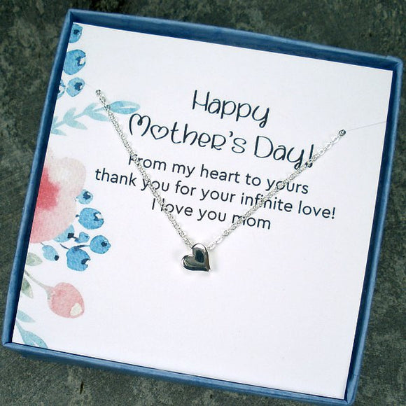 unique mother's day gift heart necklace with message card