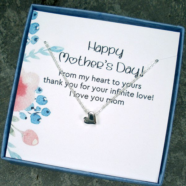 Unique Mother's Day Gift Idea Heart Necklace With Memorable Message Card Jewelry