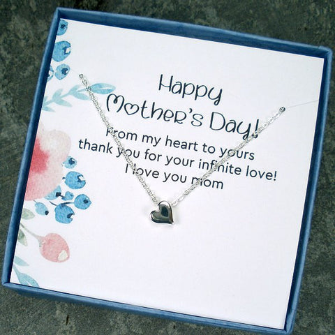Unique Mother's Day Gift Idea Heart Necklace With Memorable Message Card