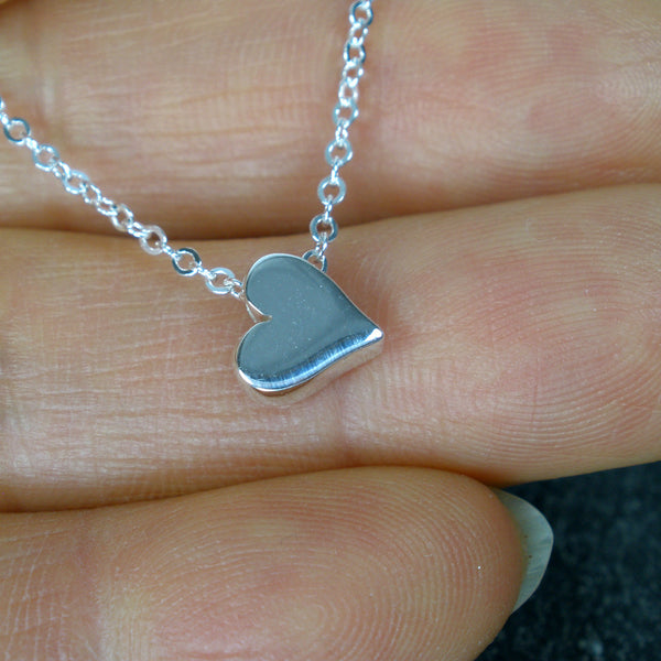 Sterling Silver Heart Bead Charm Necklace minimal jewelry