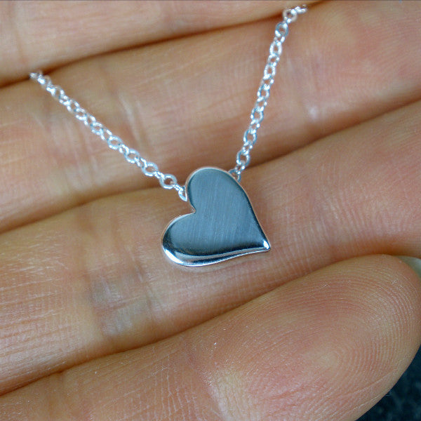 Best Friend Gift, Trendy Minimal Heart Charm Necklace, Sterling Silver