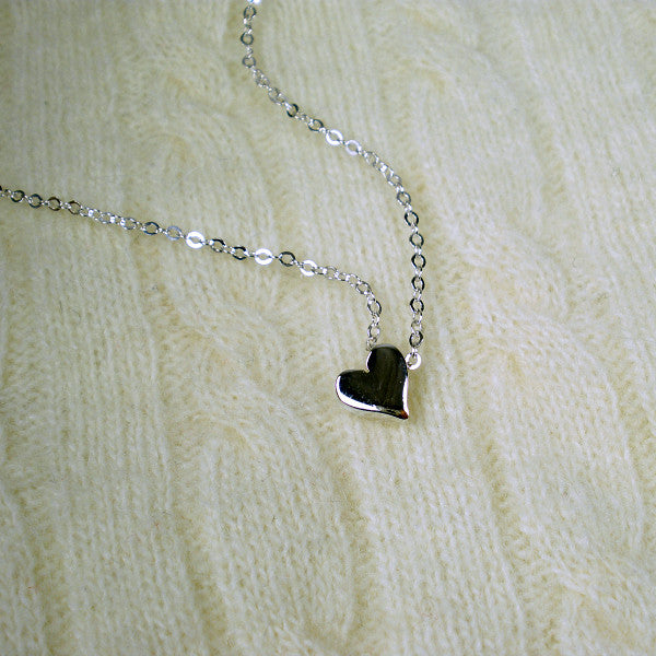 Mother's day gift, heart bead charm necklace sterling silver, message card jewelry