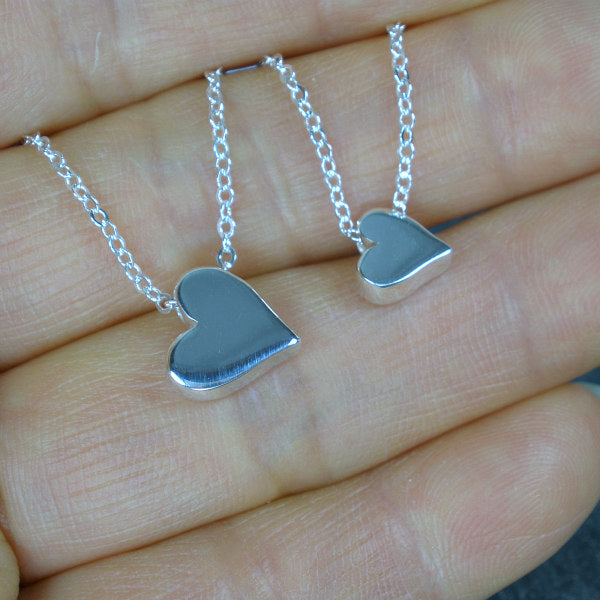 long distance mom gifts silver heart necklace