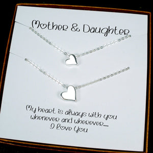 mother daughter necklace set heart necklace sterling silver