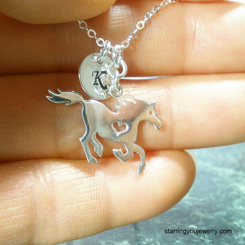 running horse necklace personalized initial western jewelry sterling silver