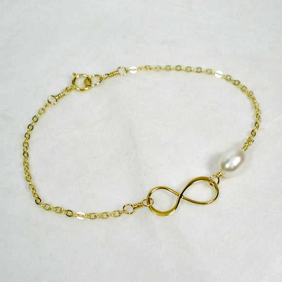 gold infinity pearl bracelet for women girls