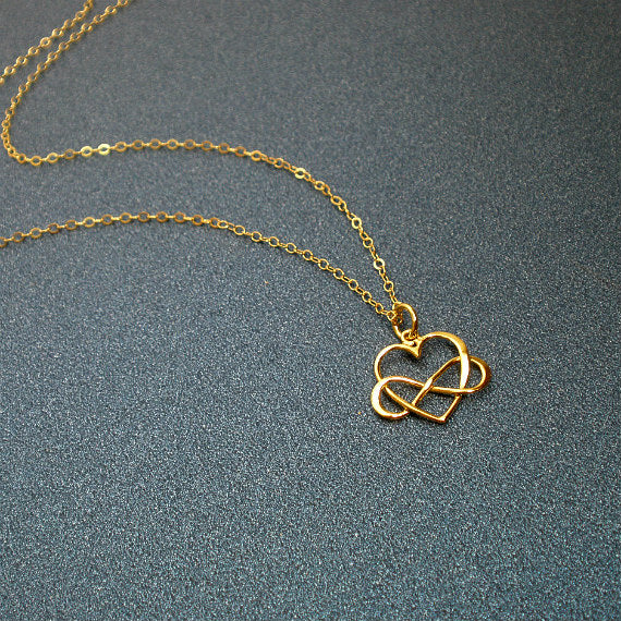 gold infinity heart necklace for women