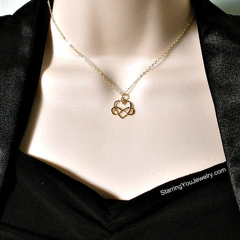 gold infinity heart necklace gift for her women valentines