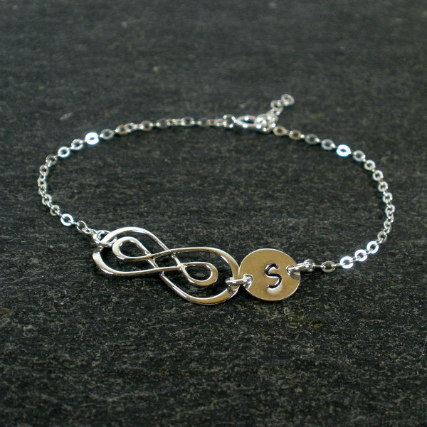 Personalized Infinity Bracelet initial sterling silver