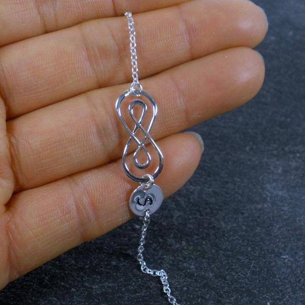 sweet 16 gift for girl infinity initial bracelet sterling silver