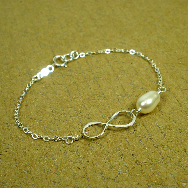Friendship Gifts, Best Friend Birthday, Christmas Gifts, Infinity Bracelet, sterling silver, freshwater pearl, message card jewelry