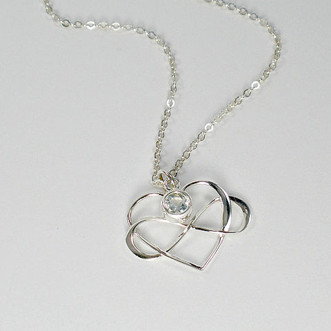 Infinity Heart Necklace, Gemstone Birthstone Jewelry, Sterling Silver
