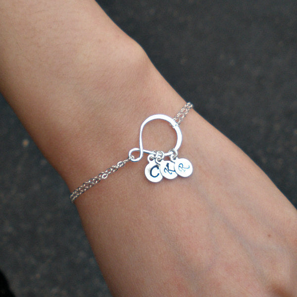 Infinity Initial Bracelet Sterling silver Gift for women