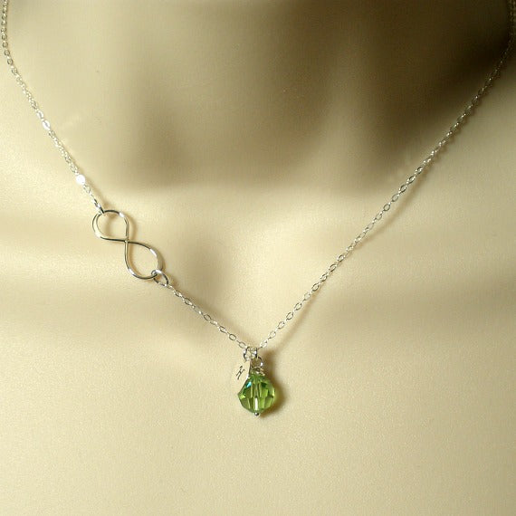 infinity initial necklace with crystal silver women jewelry