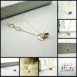 sideways infinity birthstone necklace with initial