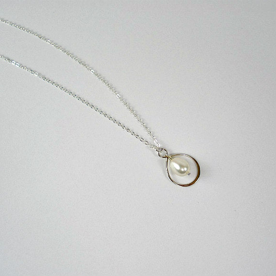 Bridesmaid Matron Maid of Honor Gift Pearl Drop Necklace