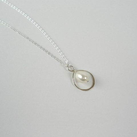 single pearl drop necklace sterling silver