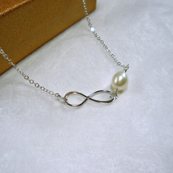 Sterling Silver Infinity Pearl Necklace