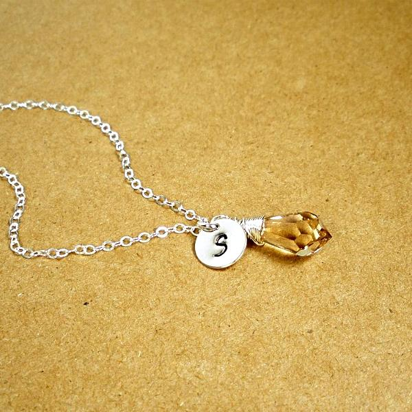 Personalized Initial Charm Necklace for Women, Sterling Silver Crystal