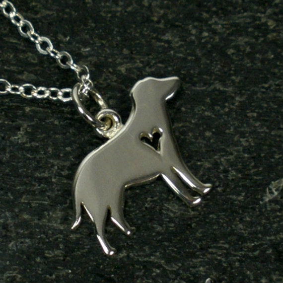 dog necklace dog lover gift labrador yorkie chihuahua silver