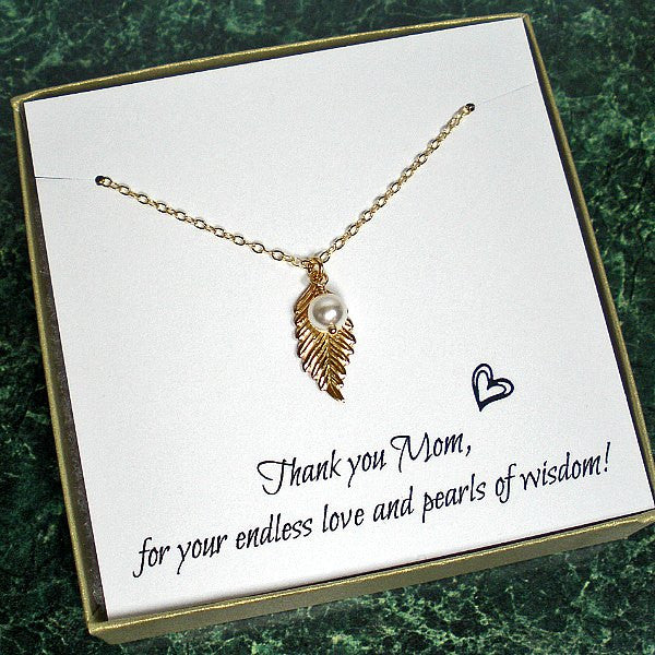 Meaningful Mom Gift Dainty Leaf Necklace Gold Silver