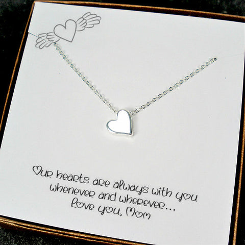 Long Distance Mom Gifts Message Card Jewelry Silver Heart Necklace Meaningful