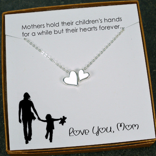Mom Necklace Gift, Mother's Day, Birthday, Heart Bead Charm Necklace