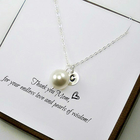 personalized mom gift initial pearl necklace silver