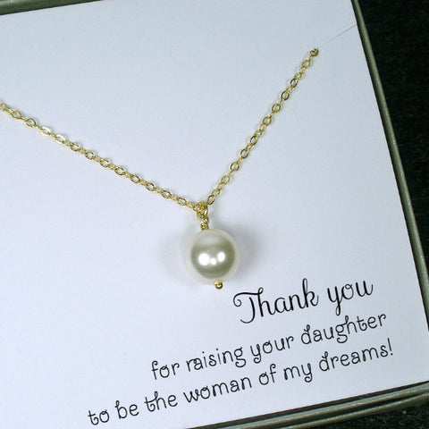 mother of the bride gift groom mom necklace mother in law wedding gold