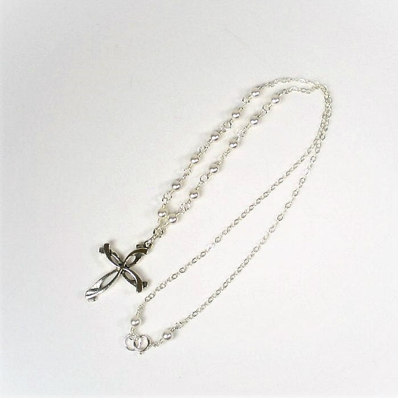 Mother of Bride or Groom Gift: Pearl Cross Necklace, Sterling Silver