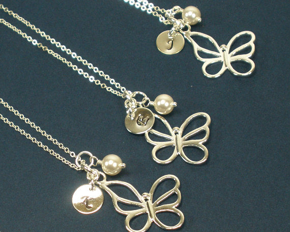 Sweet 16 Gift - Personalized Butterfly Charm Necklace, Sterling Silver