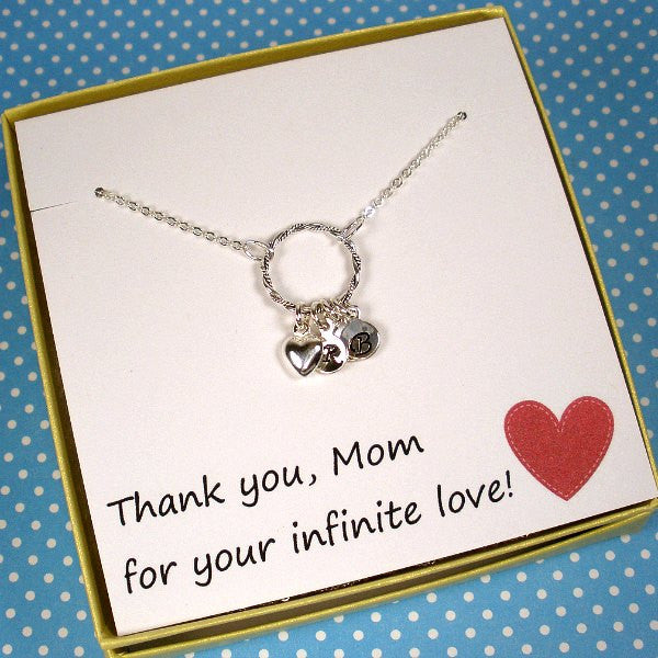 personalized mom gift from kids childrens initial necklace mothers day birthday christmas gifts