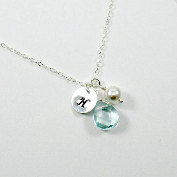 bridesmaid initial necklace bridal party gift silver