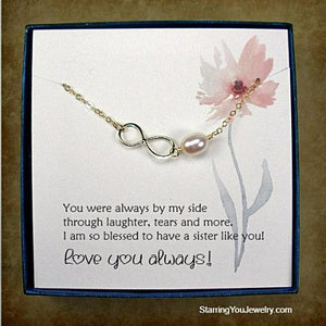 sister jewelry gifts message card jewelry gold infinity necklace