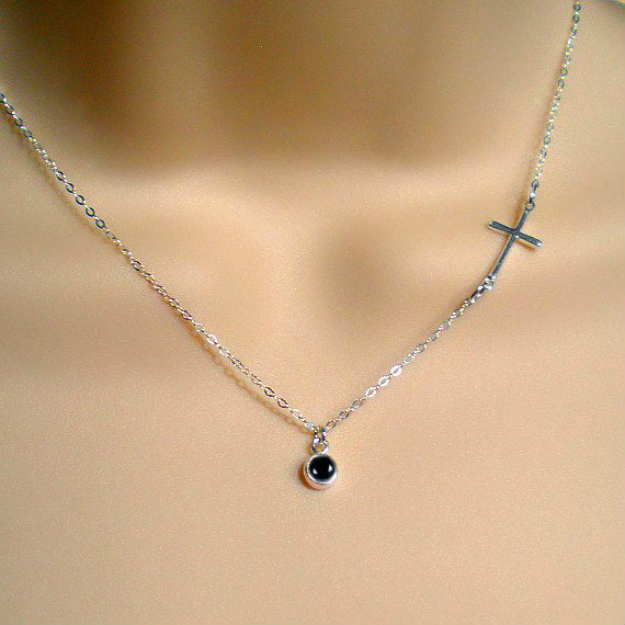 sideways cross necklace black onyx gemstone silver