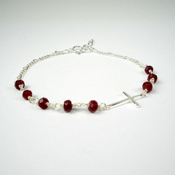 sideways cross bracelet garnet beads sterling silver