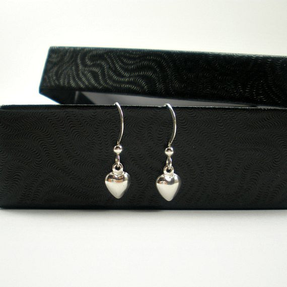 sterling silver small heart dangle earrings simple minimal jewelry