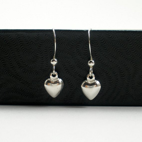 sterling silver heart dangle earrings simple minimal jewelry