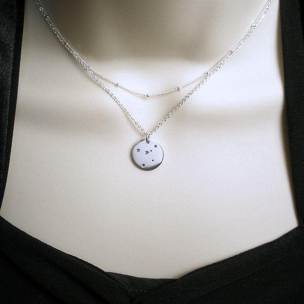 Zodiac Layered Necklace 2 layer Sterling Silver