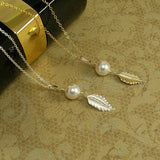 pearl leaf jewelry set gold or silver
