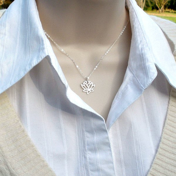 Sterling Silver Lotus Flower Necklace, Yoga Jewelry, Yoga Lover Gifts