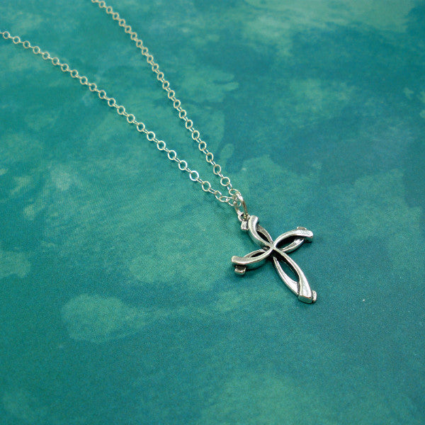 Unique Large Swirl Cross Necklace, Sterling Silver, Christian Gifts