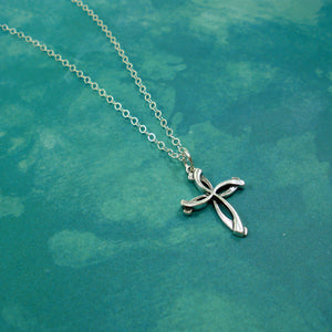 large swirl cross necklace sterling silver