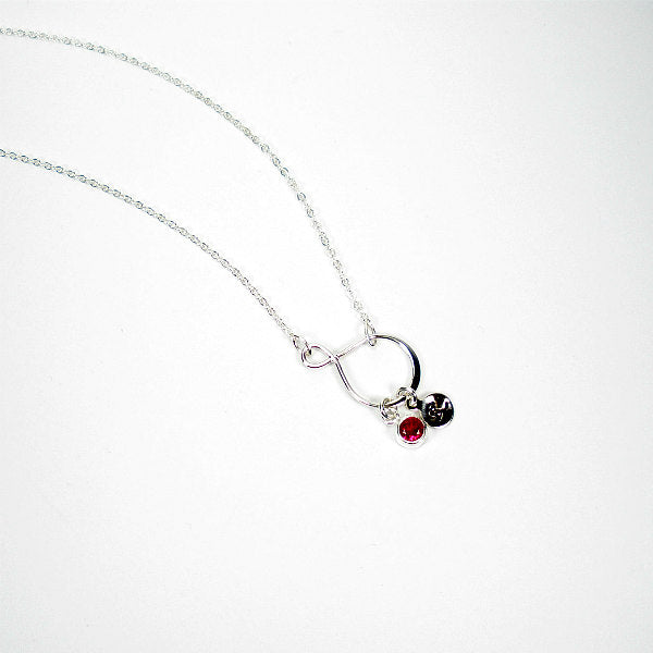 Daughter Gifts Initial Birthstone Charm Necklace Sterling Silver